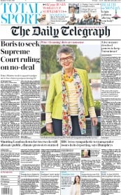 The Daily Telegraph () Newspaper Front Page for 7 October 2019