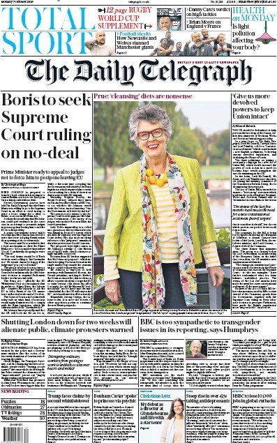 The Daily Telegraph Newspaper Front Page (UK) for 7 October 2019