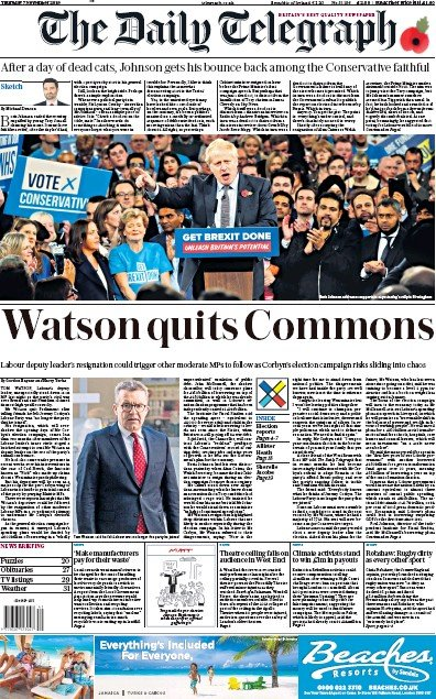 The Daily Telegraph Newspaper Front Page (UK) for 7 November 2019