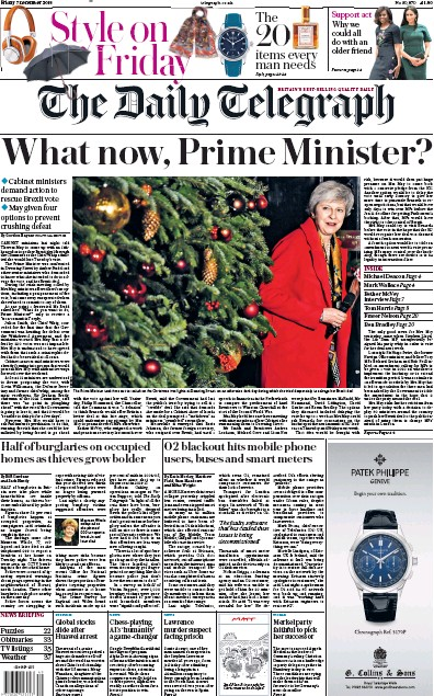 The Daily Telegraph Newspaper Front Page (UK) for 7 December 2018