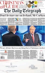 The Daily Telegraph (UK) Newspaper Front Page for 7 December 2019