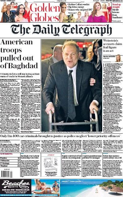 The Daily Telegraph Newspaper Front Page (UK) for 7 January 2020
