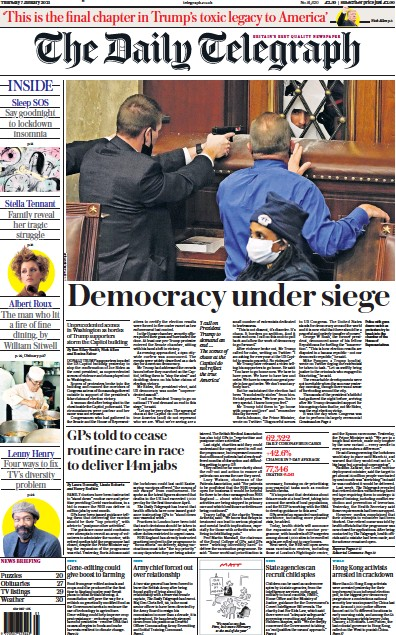 The Daily Telegraph Newspaper Front Page (UK) for 7 January 2021