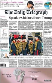 The Daily Telegraph (UK) Newspaper Front Page for 7 February 2017