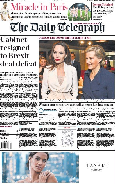 The Daily Telegraph Newspaper Front Page (UK) for 7 March 2019