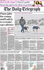 The Daily Telegraph () Newspaper Front Page for 7 April 2021