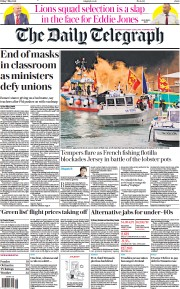 The Daily Telegraph front page for 7 May 2021