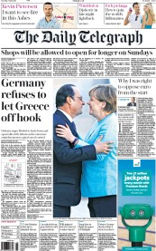 The Daily Telegraph (UK) Newspaper Front Page for 7 July 2015