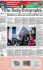 The Daily Telegraph (UK) Newspaper Front Page for 7 July 2017