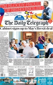The Daily Telegraph (UK) Newspaper Front Page for 7 July 2018