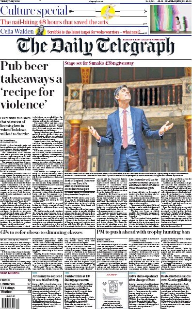 The Daily Telegraph Newspaper Front Page (UK) for 7 July 2020