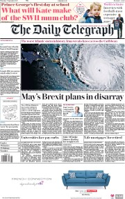 The Daily Telegraph (UK) Newspaper Front Page for 7 September 2017