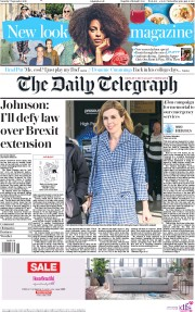 The Daily Telegraph (UK) Newspaper Front Page for 7 September 2019