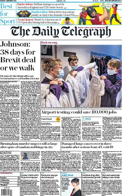 The Daily Telegraph Newspaper Front Page (UK) for 7 September 2020