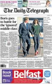 The Daily Telegraph Newspaper Front Page (UK) for 8 October 2012