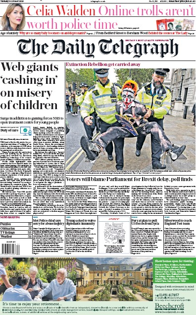 The Daily Telegraph Newspaper Front Page (UK) for 8 October 2019