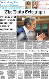 The Daily Telegraph front page for 8 October 2020