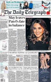 The Daily Telegraph (UK) Newspaper Front Page for 8 November 2017