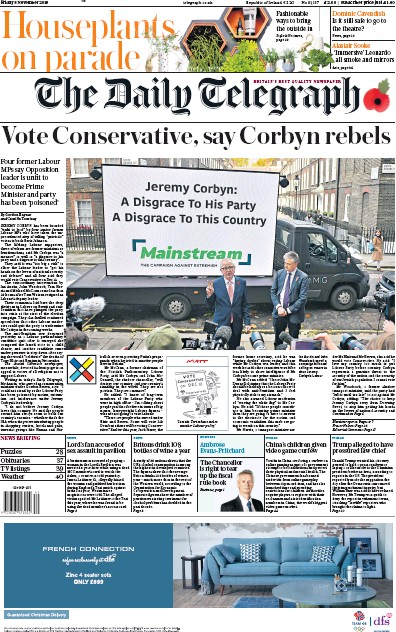 The Daily Telegraph Newspaper Front Page (UK) for 8 November 2019