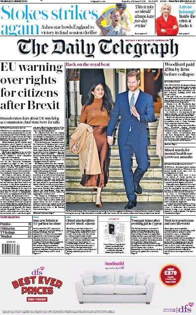 The Daily Telegraph Newspaper Front Page (UK) for 8 January 2020
