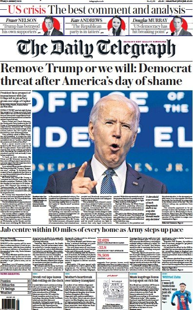The Daily Telegraph Newspaper Front Page (UK) for 8 January 2021