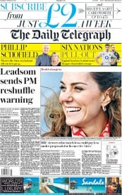 The Daily Telegraph (UK) Newspaper Front Page for 8 February 2020