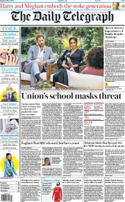 The Daily Telegraph front page for 8 March 2021
