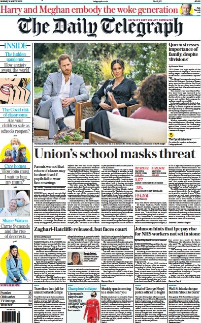 The Daily Telegraph Newspaper Front Page (UK) for 8 March 2021