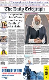 The Daily Telegraph () Newspaper Front Page for 8 April 2021