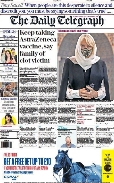 The Daily Telegraph Newspaper Front Page (UK) for 8 April 2021