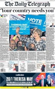 The Daily Telegraph (UK) Newspaper Front Page for 8 June 2017