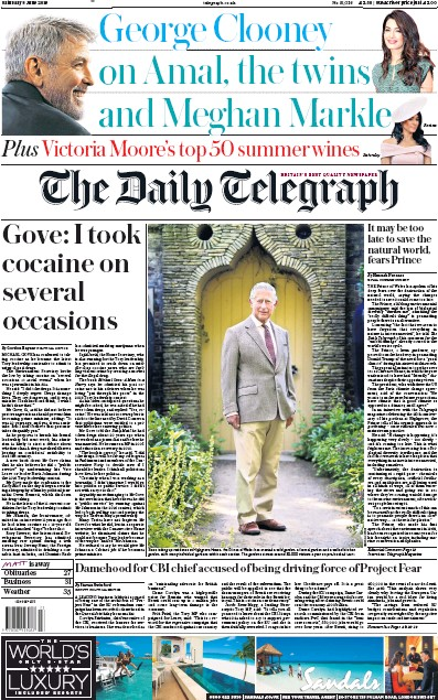 The Daily Telegraph Newspaper Front Page (UK) for 8 June 2019