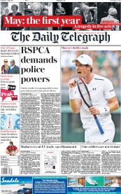The Daily Telegraph (UK) Newspaper Front Page for 8 July 2017