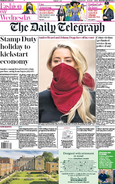 The Daily Telegraph Newspaper Front Page (UK) for 8 July 2020