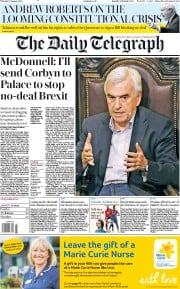 The Daily Telegraph () Newspaper Front Page for 8 August 2019