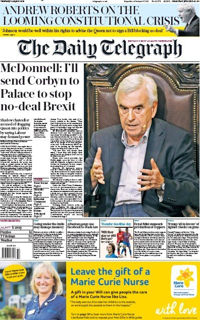 The Daily Telegraph Newspaper Front Page (UK) for 8 August 2019