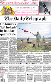 The Daily Telegraph front page for 8 August 2020