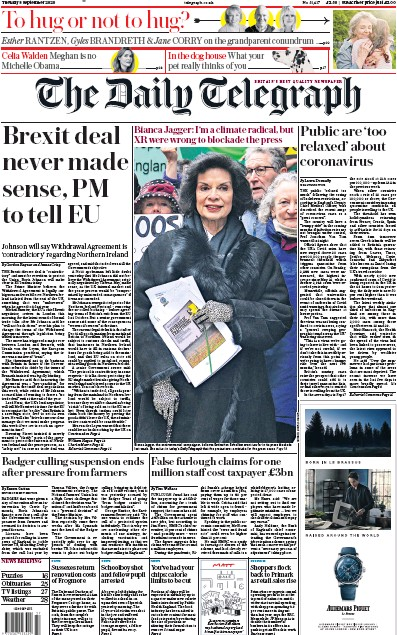 The Daily Telegraph Newspaper Front Page (UK) for 8 September 2020