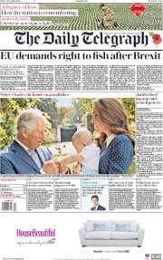 The Daily Telegraph (UK) Newspaper Front Page for 9 November 2018