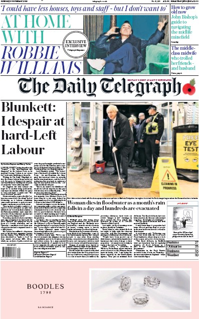 The Daily Telegraph Newspaper Front Page (UK) for 9 November 2019