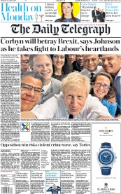 The Daily Telegraph () Newspaper Front Page for 9 December 2019