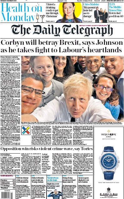 The Daily Telegraph Newspaper Front Page (UK) for 9 December 2019