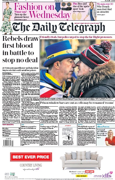 The Daily Telegraph Newspaper Front Page (UK) for 9 January 2019