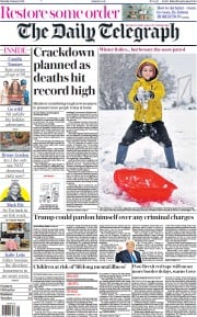 The Daily Telegraph front page for 9 January 2021