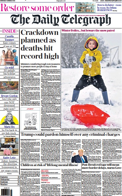 The Daily Telegraph Newspaper Front Page (UK) for 9 January 2021