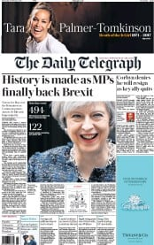 The Daily Telegraph (UK) Newspaper Front Page for 9 February 2017