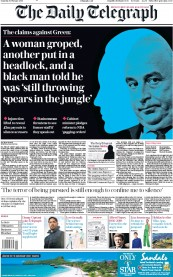 The Daily Telegraph () Newspaper Front Page for 9 February 2019