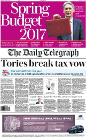 The Daily Telegraph (UK) Newspaper Front Page for 9 March 2017