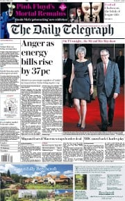 The Daily Telegraph (UK) Newspaper Front Page for 9 May 2017