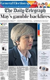 The Daily Telegraph (UK) Newspaper Front Page for 9 June 2017